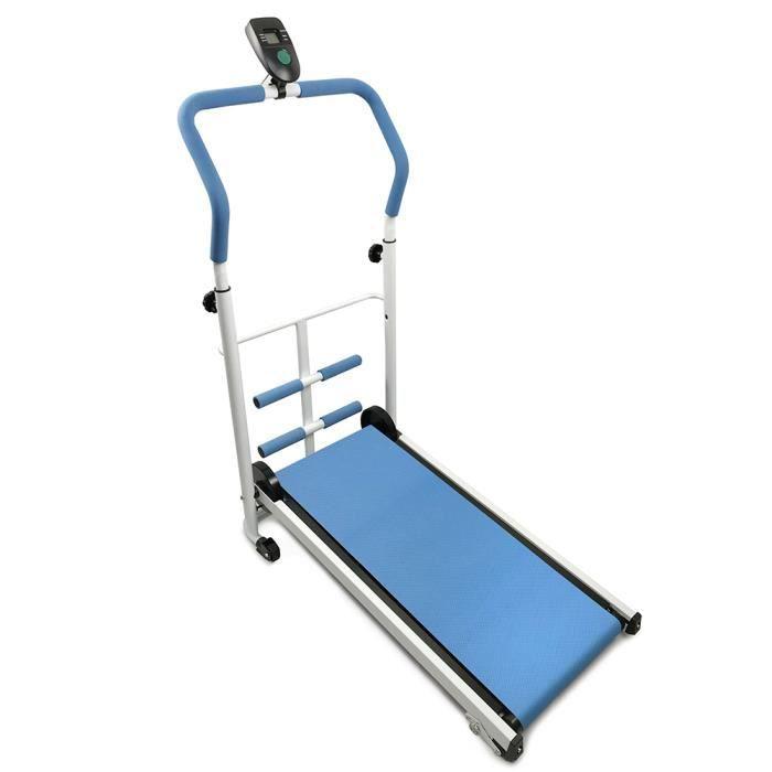 Tapis de Course Manual pour Marche, Jogging et Fitness, 85x43.5x110cm - Bleu