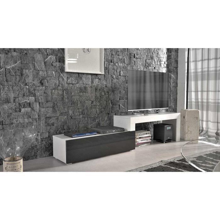 Meuble tv extensible blanc mat noir laqué 108-200 + Led bleu