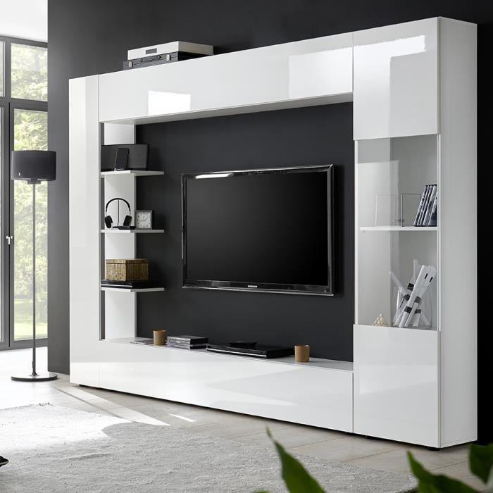Meuble tv mural laque blanc SOPRANO L 257 x P 30 x H 187 cm Blanc