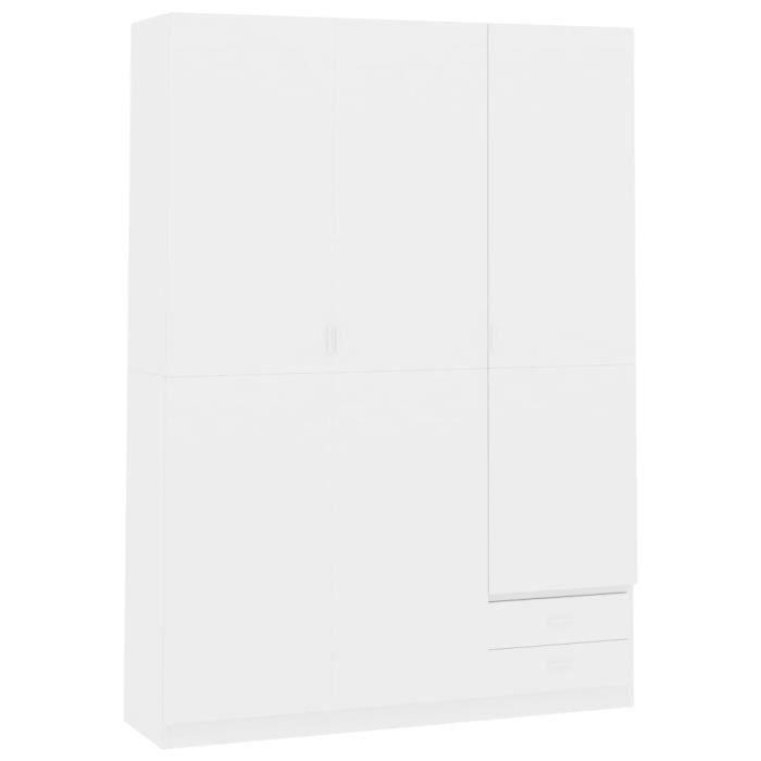 Armoire de rangement Garde-robe Armoire de chambre armoire à linge à 3 portes Blanc brillant 120x50x180 cm Aggloméré
