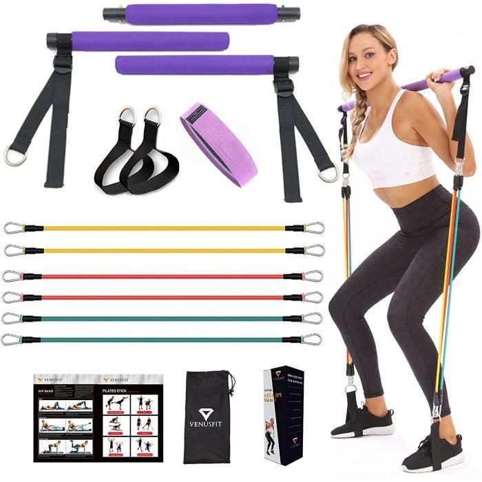 VENUSFIT Lot de 6 barres de musculation pour pilates avec bande élastique réglable de résistance pour yoga, étirement, sculptur A319