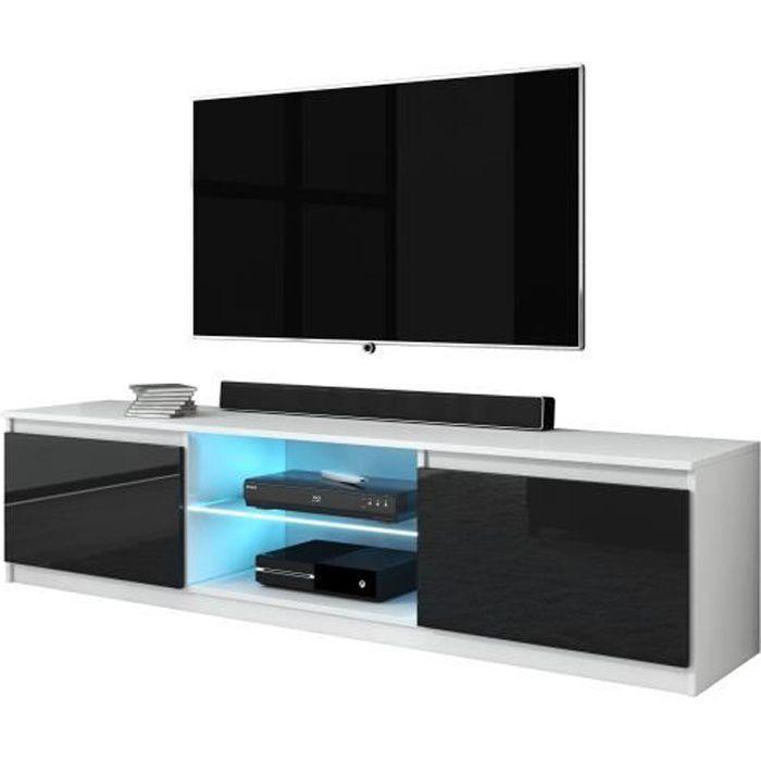 Furnix meuble tv/ banc tv Arenal 120 cm noir/ blanc brillant avec LED