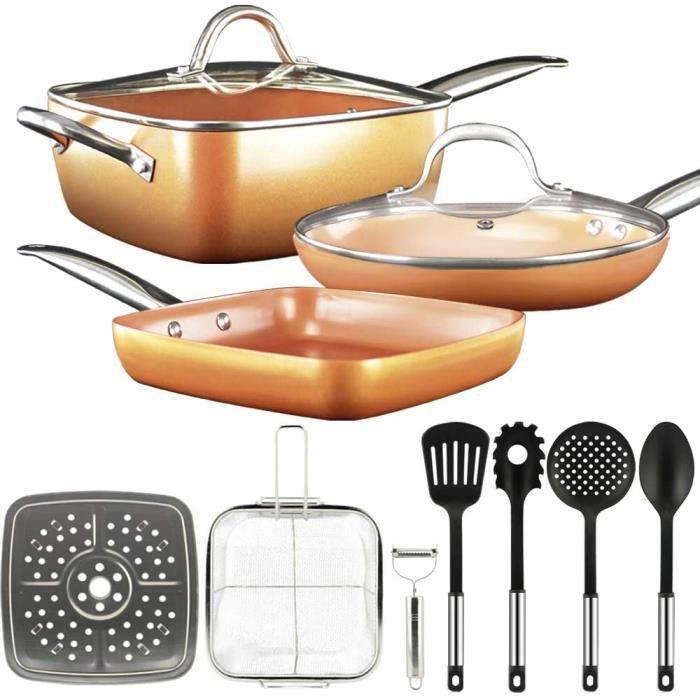 Batterie de cuisine 12 pièces, poêle antiadhésive, ensemble couleur cuivre, revêtement céramique, acier inoxydable.[92]