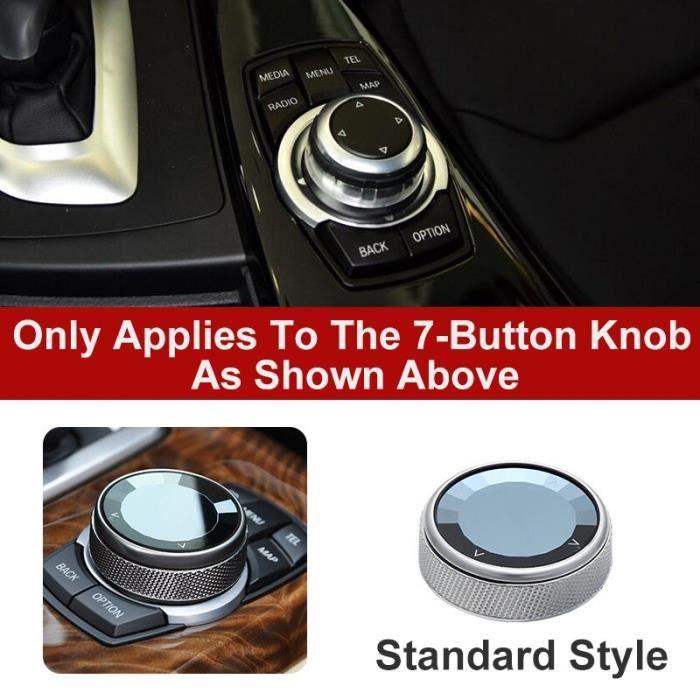 Amenagement Interieur,Voiture Boutons Multimédia Couverture iDrive Autocollants pour BMW 1 3 5 7 Série X1 - Type 7 Button Crystal