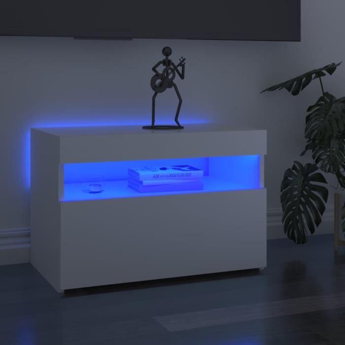 Liya Meuble TV avec lumières LED Blanc brillant 60x35x40 cm
