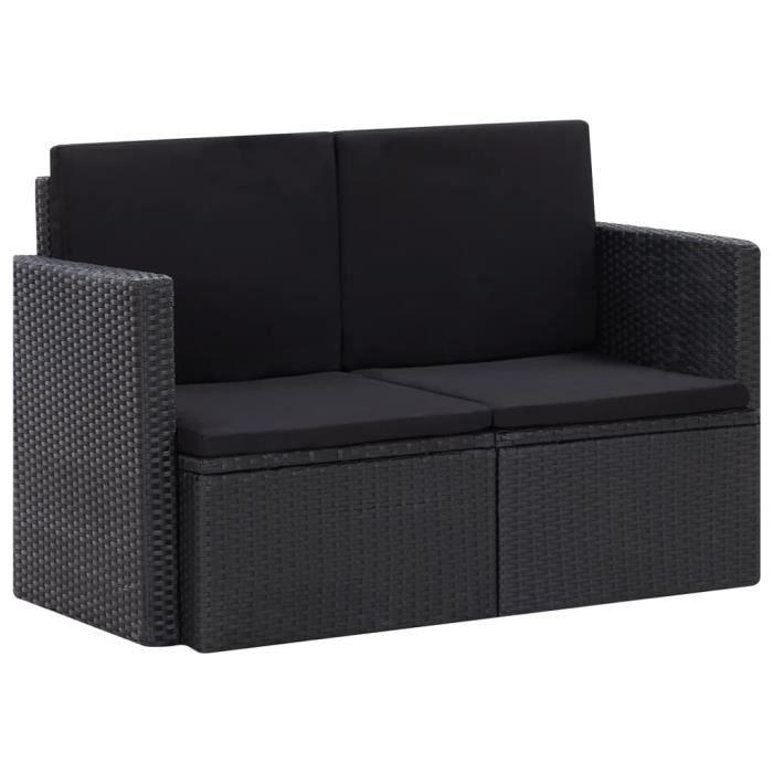 Canapé de jardin à 2 places avec coussins Noir Résine tressée #533 HB0038 -ZOO HY4070