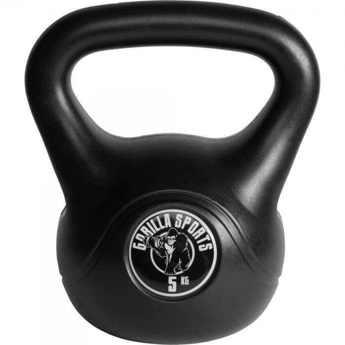 Gorilla Sports - Poids Kettlebell plastique 2kg à 20kg - 5 KG Noir