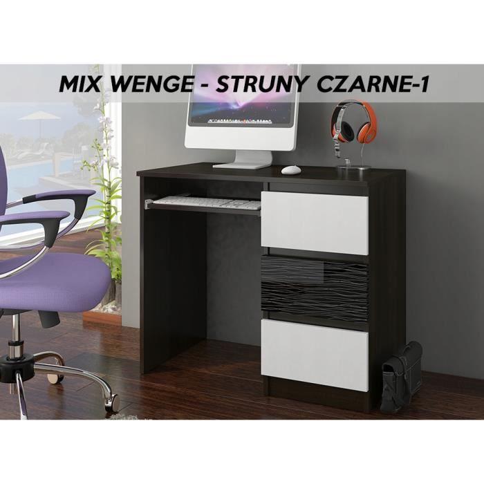 YORK 1WR- Bureau moderne informatique d'ordinateur 96x50x76- Support clavier-3 tiroirs - Mobilier travail -Wengé Noir Blanc