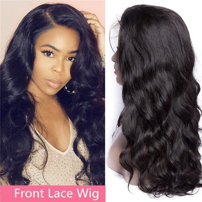 10 Pouces Front Lace Wig Cheveux Brésiliens Body Wave Avec Cheveux De Bébé 100% cheveux humains