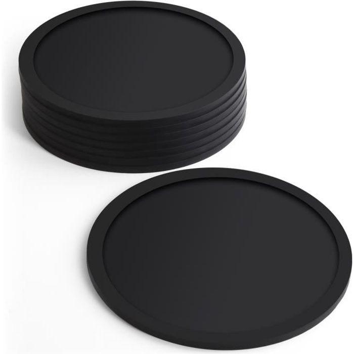 igadgitz Home U6901 - Sous Verre en Silicone sans BPA, Set de 8 Dessous de Verre - Ronde, pour Verre de Pinte de biere, Tasses-Noir