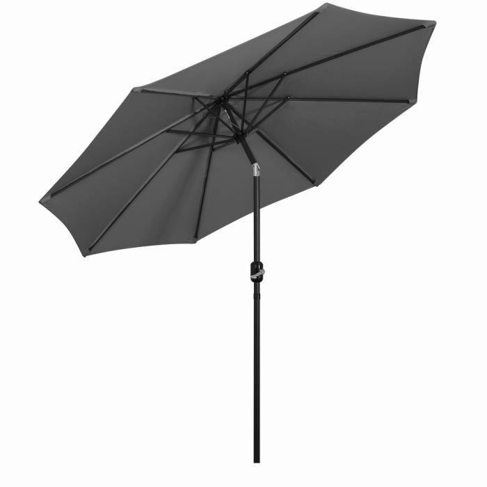 Parasol Droit 3.0m Inclinable, avec Manivelle, Pliable Portable, Protection Solaire pour Terrace, Piscine, Plage, gris - Mondeer