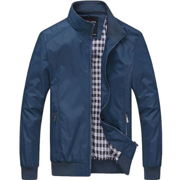 Veste Hommes debout col veste Couleur unie veste Printemps et automne veste ,Bleu,M
