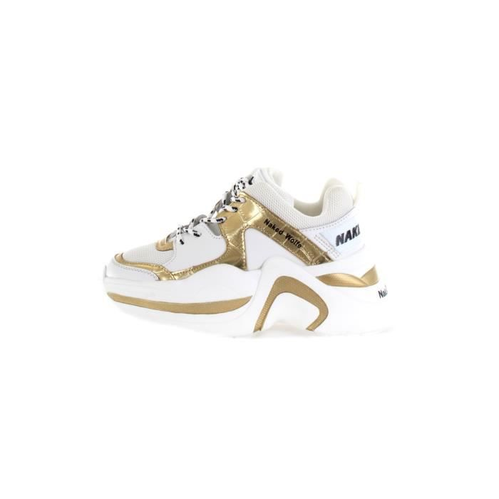 Naked Wolfe NWSTRACK chaussures de tennis Faible Femme Or blanc