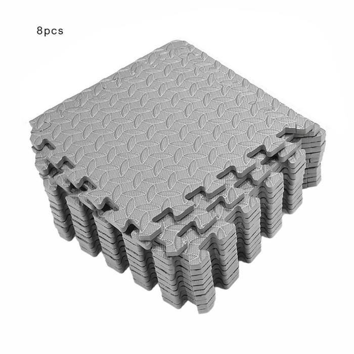 Tapis de protection de sol – 8 dalles en mousse - Matelas puzzle pour matériel fitness, gym, musculation – Salle de sport, garage