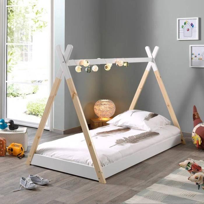 Lit Enfant Design -tipi- 90x200cm Blanc - Paris Prix