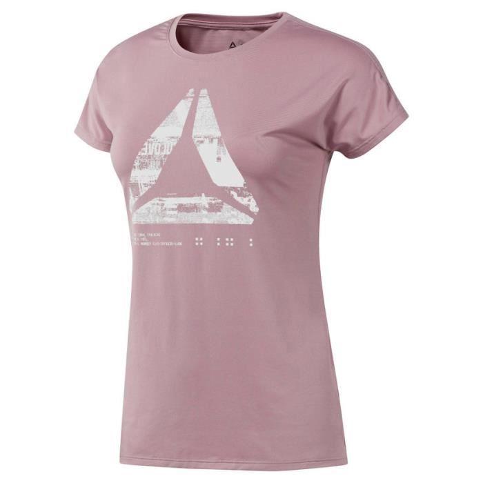 Reebok D93866 XS, Tee-shirt, XS, Manche courte, Encolure torsadée, Athlétique, Sans fermeture (simple)