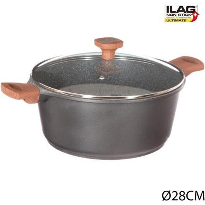 Faitout en fonte d'aluminium gris 28 cm Secret de gourmet
