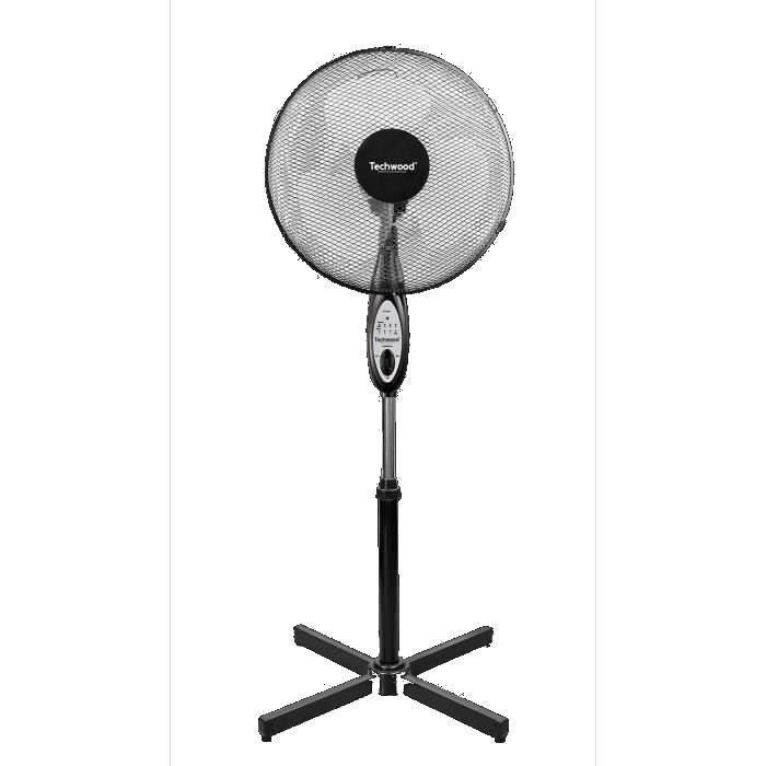 TECHWOOD 40 watts Ventilateur sur pied avec Telecommande 40cm - 3 vitesses - Réglage : - Hauteur - Oscillation - Orientation