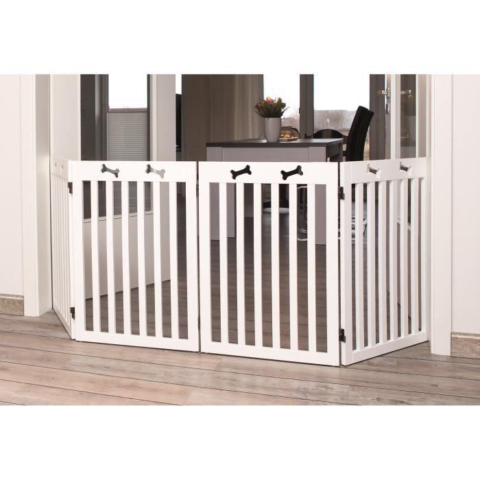 TRIXIE Barrière de sécurité - 4 pièces - 60-160x75 cm - Blanc - Pour chien