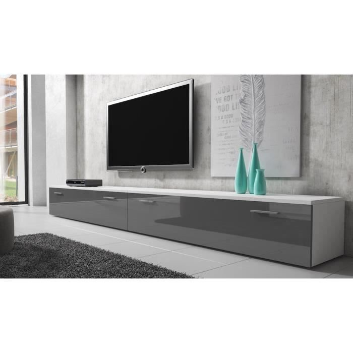 boston meuble tv contemporain d cor blanc et gris 300 cm achat vente meuble tv boston. Black Bedroom Furniture Sets. Home Design Ideas