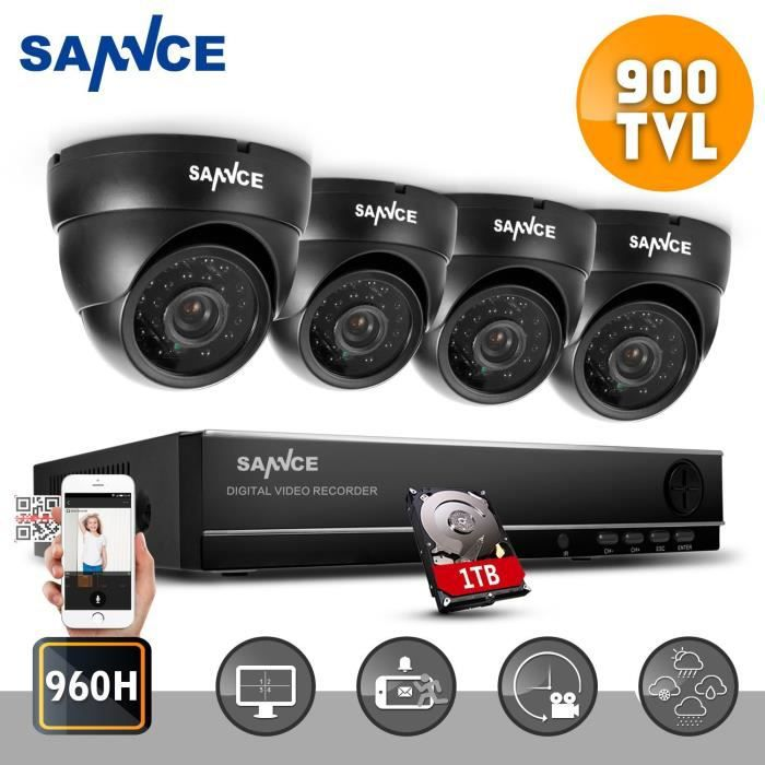 sannce 4ch kit de vid o surveillance 4 cam ra dome 900tvl haute r solution nuit vision. Black Bedroom Furniture Sets. Home Design Ideas