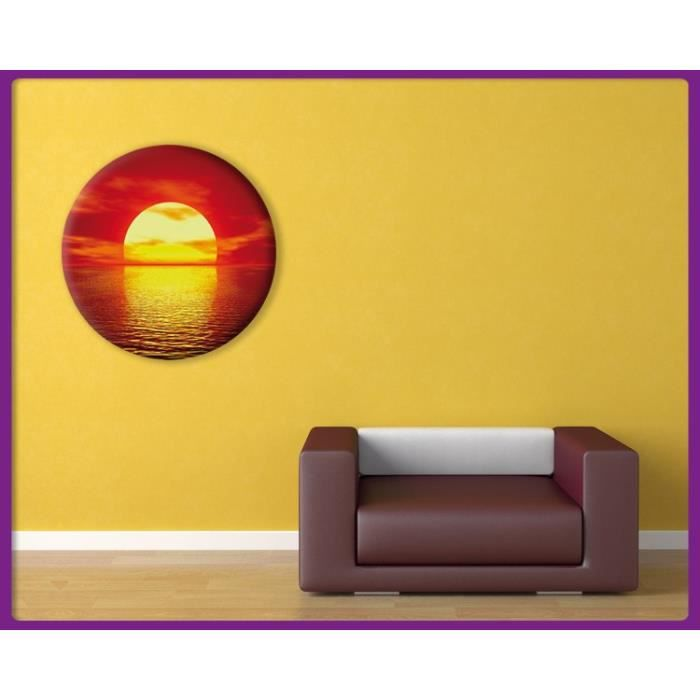 bilderdepot24 tableau rond impression sur toile soleil coucher de soleil 40x40 achat. Black Bedroom Furniture Sets. Home Design Ideas