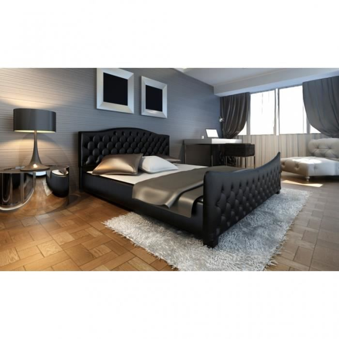 lit capitonn noir 140x200 cm avec sommier achat vente. Black Bedroom Furniture Sets. Home Design Ideas
