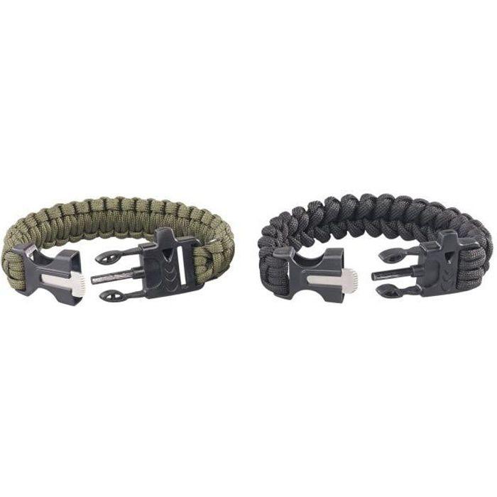Bracelet paracorde pierre à feu et sifflet Highlander noir
