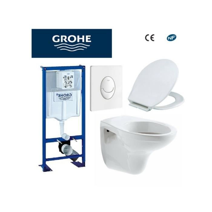 b ti support wc bastia suspendu grohe autoportant plaque blanche achat vente habillage wc. Black Bedroom Furniture Sets. Home Design Ideas
