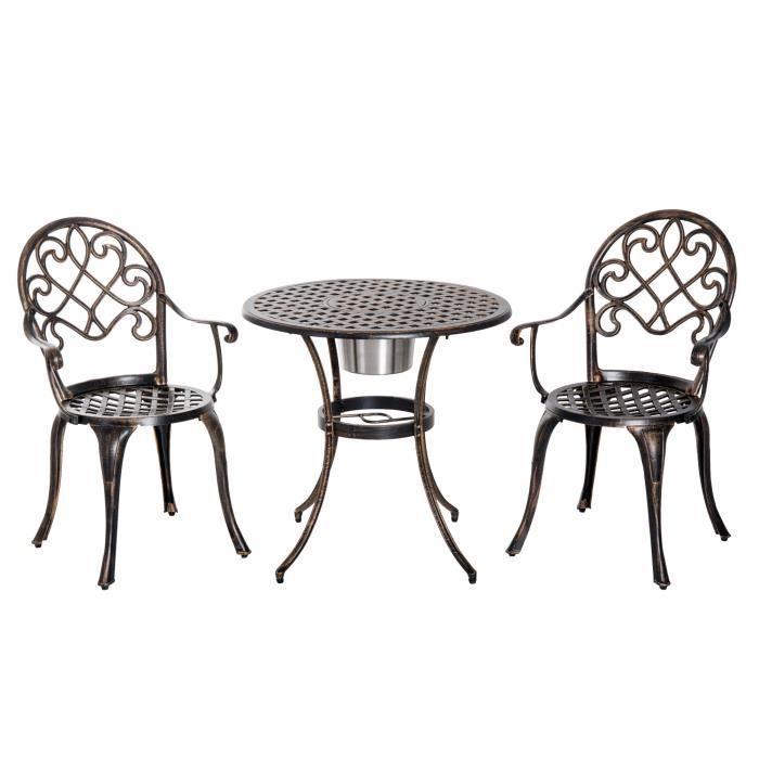 Ensemble bistrot style colonial 2 chaises + table ronde fonte d ...