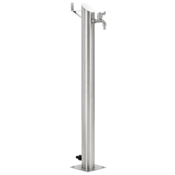Jeu deau ext/érieur 12V /à 65cm /à dans Une Hauteur de 100cm avec /éclairage LED Fontaine Colonne en Acier de Jardin 3 Acier Poli Inoxydable piliers