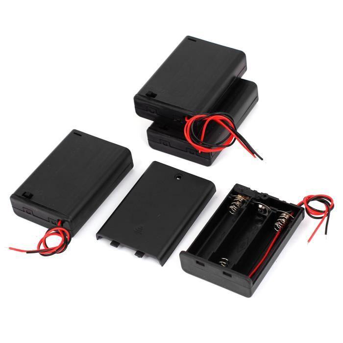 5Pcs Fil De Plomb Porte-piles Boîte pour 3 x 1.5V piles AA