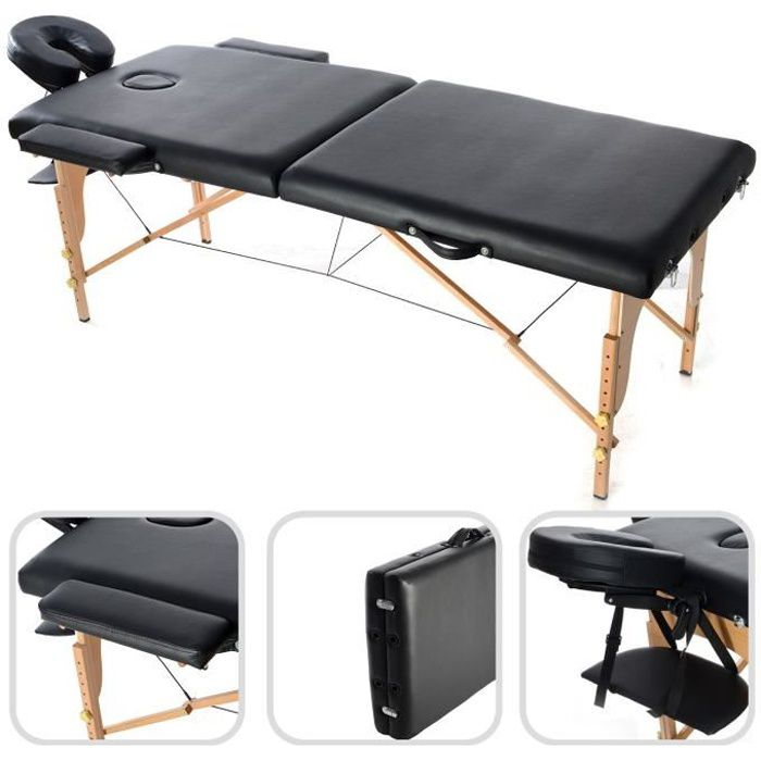 Table de massage pliable noire achat vente table de massage table de mass - Table massage pliable ...