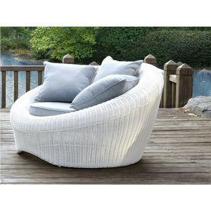 Lot de 2 fauteuils de jardin WHITEHEAVEN en résine tressée ...