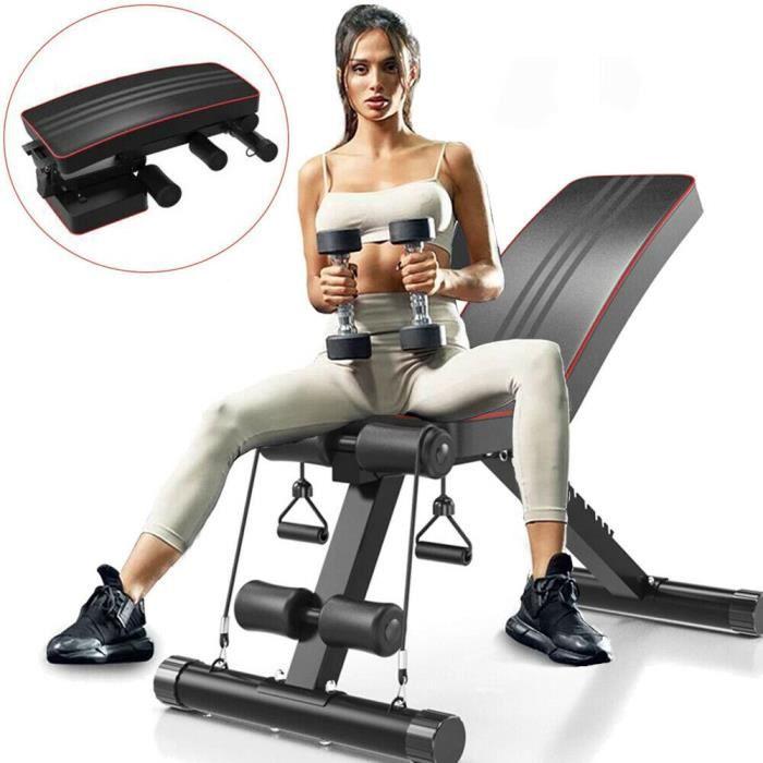 Banc de Musculation Pliable, Banc d'entraînement Réglable, Assis sur le dos, Planche à Plat et Ventre Plat