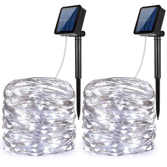 2pcs Solaire Guirlande Lumineuse 100 LED lumières de décoration solaires imperméables pour les jardins, la maison, la danse, la fête