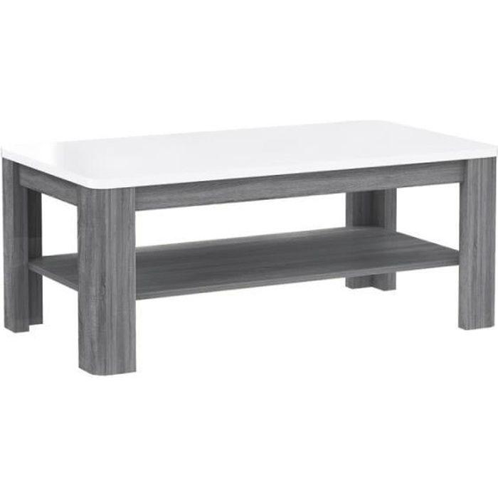 Table Basse rectangulaire Plateau laqué Blanc et piétement Bois Gris - Collection ALEXIANE