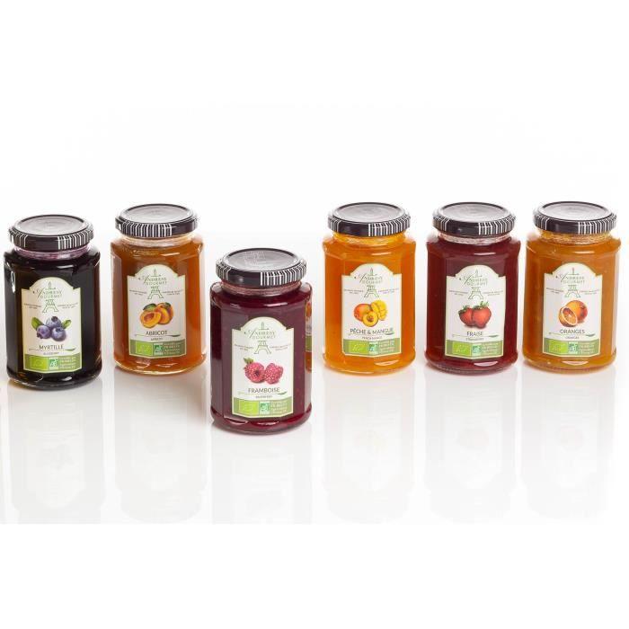 ANDRESY CONFITURES Assortiment 6 saveurs bio 6x300g – 6 pots : abricot, fraise, framboise, orange, myrtille, pêche/mangue