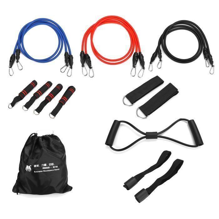 AVANC Kit 16x Bande de Résistance Elastique 30 25 20 lb Sangle Traction En Latex Fitness Musculation