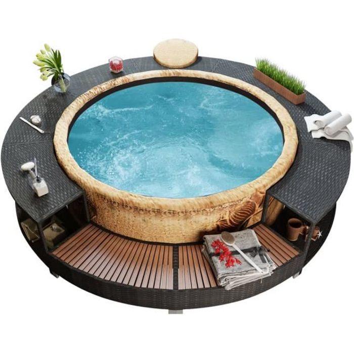 *EXP#4939Ergonomique Cadre de spa Contour de Spa Jardin Extérieur Haute qualité - SPA COMPLET - KIT SPA Noir Résine tressée
