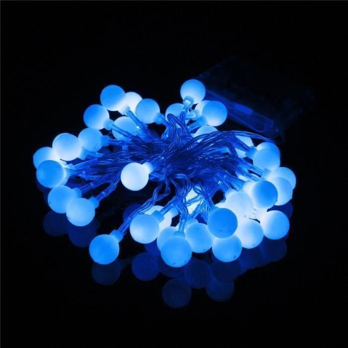 4M 40 LED Guirlande lumineuse interieure boule a pile jardin noël décoration Bleu Aw15854