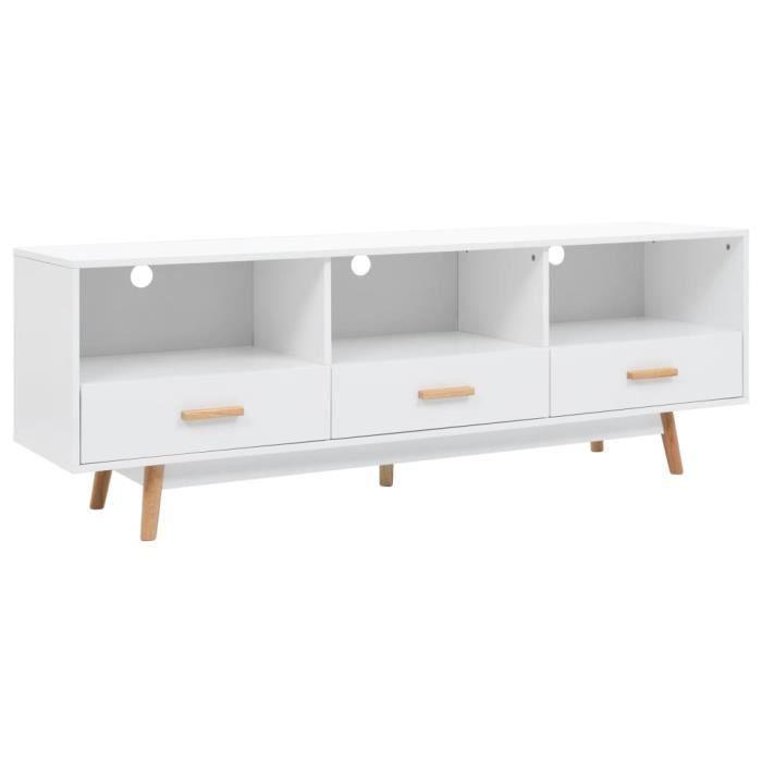 Meuble TV Moderne - Avec 3 Tiroirs - Décor blanc MDF + Pieds en Bois - 160 x 40 x 55 cm