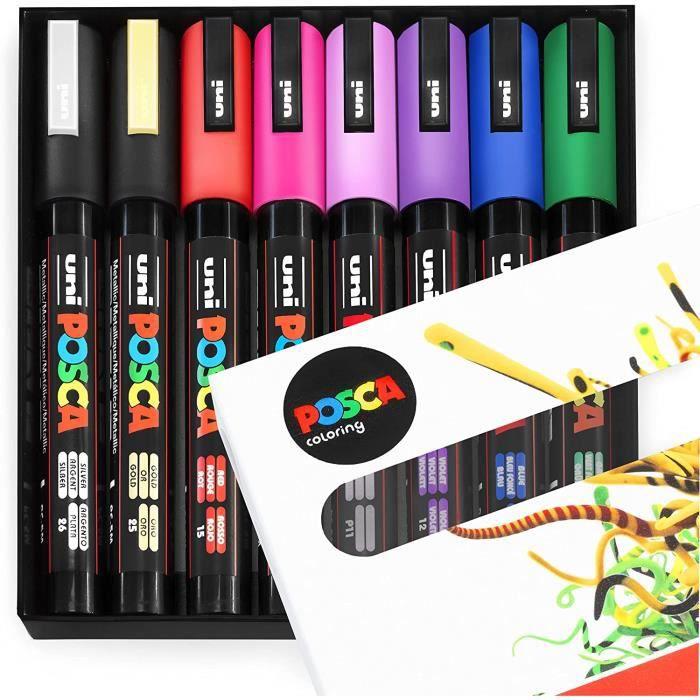 Uni Posca PC5M Lot de 8 marqueurs de peinture 1,8 à 2,5 mm Couleurs populaires Coffret cadeau