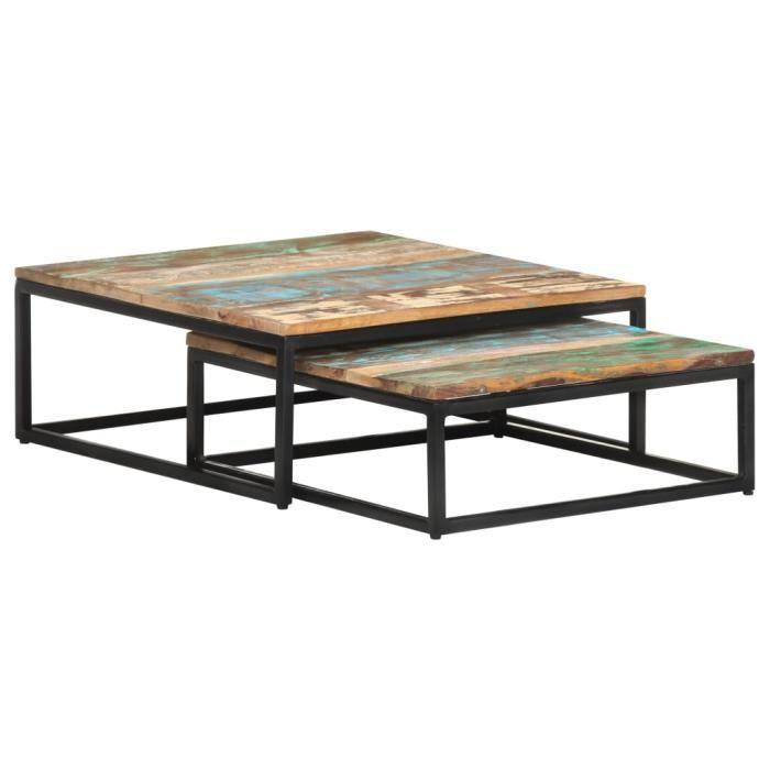 &PRO152973 Lot de 2 Table basse gigognes Table d'appoint pour la Maison Bois de récupération massif Contemporain Décor