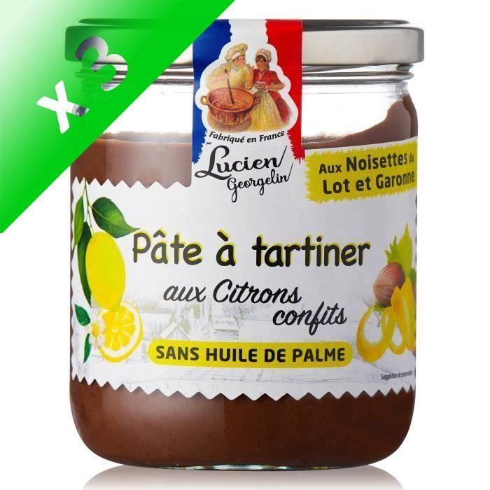 [LOT DE 3] LUCIEN GEORGELIN Pâte à tartiner aux noisettes du Lot et Garonne et citrons confits - 400 g