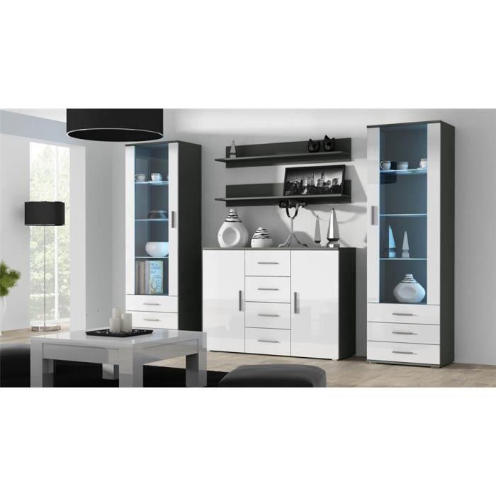 Ensemble meuble TV design SANO 3 - gris et blanc