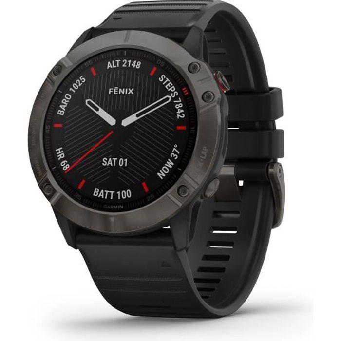 Garmin Fenix 6X Sapphire, carbon Gray DLC avec bracelet noir