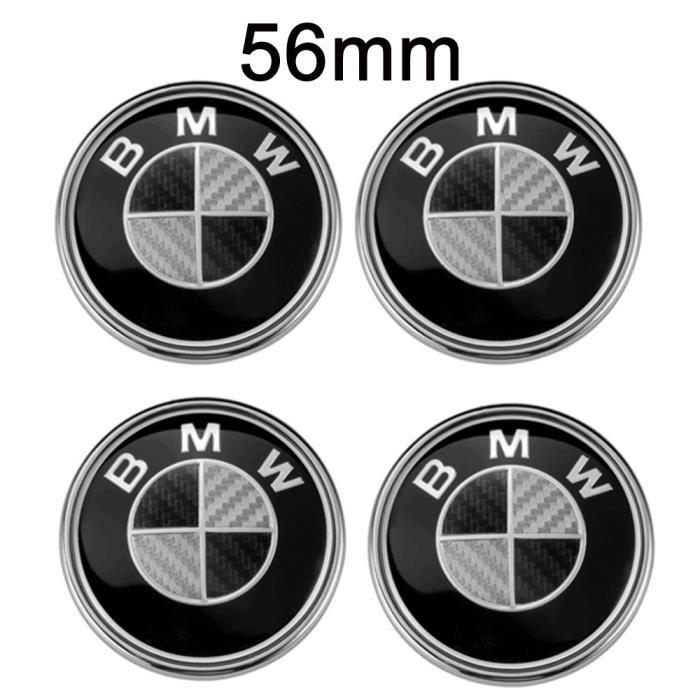 4PCS Logo BMW OD56mm Centre De Roue Cache Moyeu Jante Fibre de carbone noir gris insigne