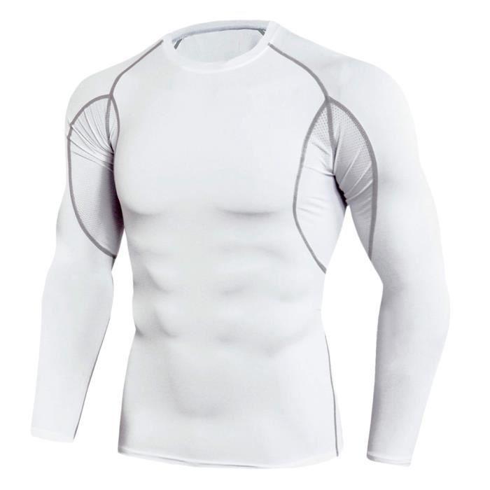 Tee Shirt De Sport Pour Homme Manches Longues Haut De Compression Base Layer Séchage Rapide TC92 XL