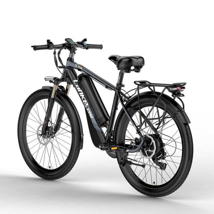 T8 48V 15A 400W Le vélo électrique Puissant, adoptent la Fourchette de Suspension, Le vélo d'assistance de pédale (Noir gris)